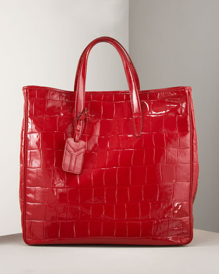 Yves Saint Laurent Raspail Croc-Embossed Tote