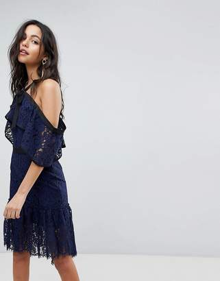Adelyn Rae Tracy Ruffle Haltnerneck Lace Hem Dress