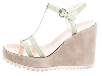 Miu Miu T-Strap Wedge Sandals
