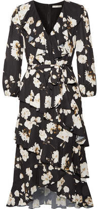 Alice + Olivia Alice Olivia - Kye Ruffled Floral-print Crepe De Chine Midi Dress - Black