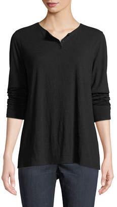 Eileen Fisher Slub Jersey Button-Neck Long-Sleeve Tee