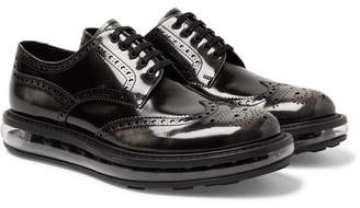 Prada Levitate Burnished-Leather Wingtip Brogues