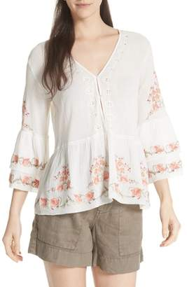 Joie Kamile Embroidered Cotton Peasant Top
