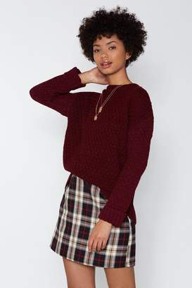 Nasty Gal You Started Knit Cable Sweater