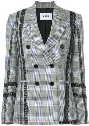 MSGM lace trim double-breasted blazer