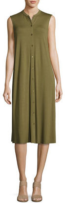 Eileen Fisher Sleeveless Button-Front Jersey Dress $198 thestylecure.com