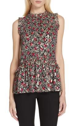 Kate Spade floral park clip dot ruffle blouse