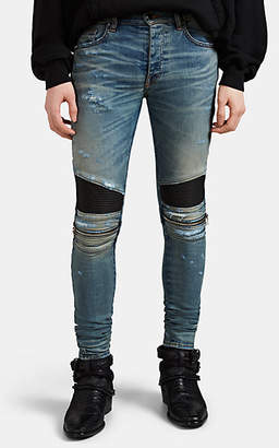 Amiri Men's MX2 Leather-Inset Distressed Skinny Jeans - Blue