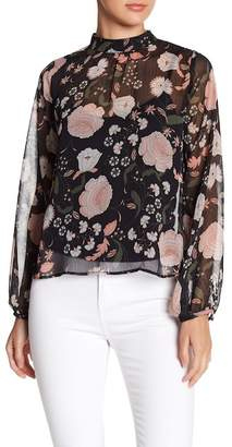 BB Dakota Floral Long Sleeve Mock Neck Blouse