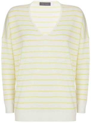 Mint Velvet Lemon Stripe V-Neck Boxy Knit