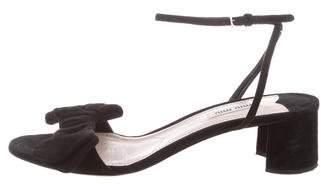 Miu Miu Suede Bow-Accented Sandals