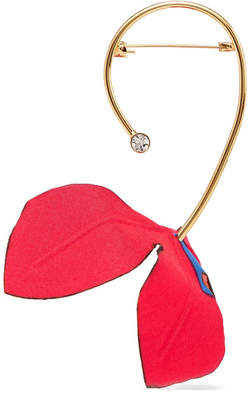 Marni Gold-tone, Cotton-canvas And Crystal Brooch - Red