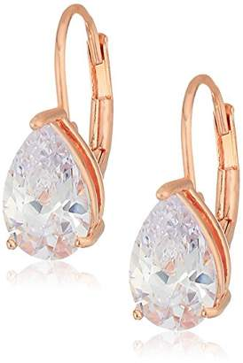 14k Gold Plated Sterling Silver Pear Cut Cubic Zirconia Leverback Earrings