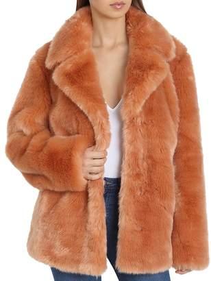 AVEC LES FILLES Faux Fur Swing Coat