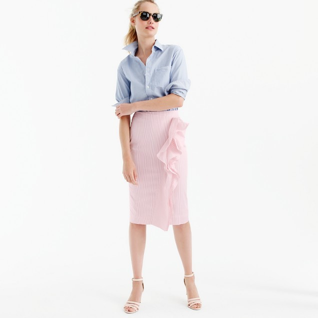 Ruffle skirt in striped poplin