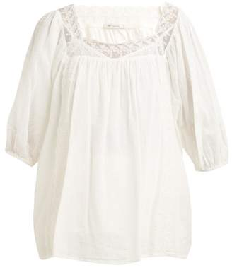Mes Demoiselles Hamilton Lace Insert Cotton Voile Tunic Top - Womens - Ivory