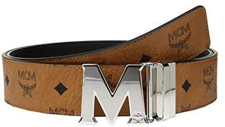 MCM Men's Silver M Buckle Reversible Belt