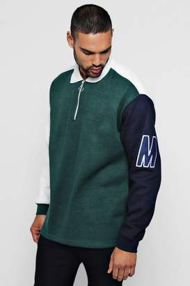 boohoo Loose Fit Colour Block Rugby Sweat