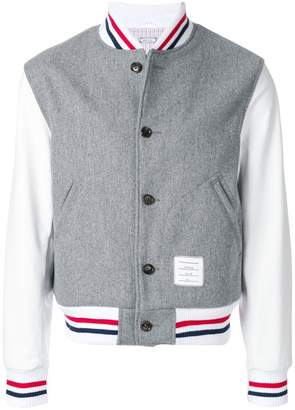 Thom Browne Button Front Melton Wool Varsity Jacket