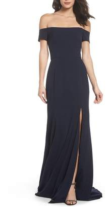 Amsale Off the Shoulder Crepe Gown