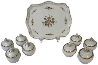 One Kings Lane Vintage Ginori Pot de Creme Set - Set of 9 - Stucco Mansion Antiques