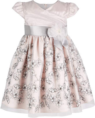 Bonnie Baby Baby Girls Floral-Embroidered Mesh Dress