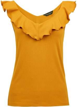 Dorothy Perkins Womens Yellow Ruffle Neck Rib Vest