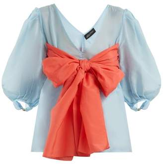 Anna October - Contrast Bow Detailed Cotton Blend Blouse - Womens - Blue Multi
