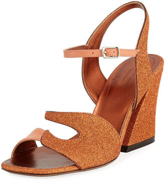 Dries Van Noten Glitter and Leather Chunky Sandals