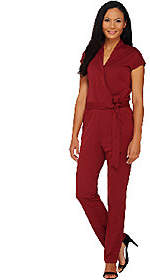 Halston H by Regular Knit Wrap Style Jumpsuitwith Tie Waist
