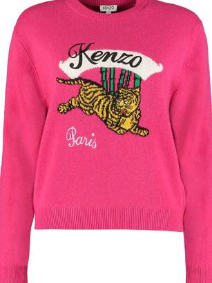 Kenzo Wool Crew-neck Pullover With Intarsia