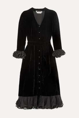 Rotate by Birger Christensen Ruffled Organza-trimmed Velvet Midi Dress - Black