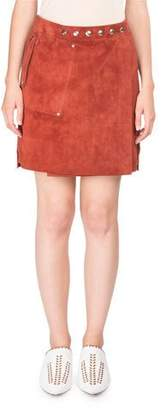 Acne Studios Suede A-Line Skirt w/ Snap Details