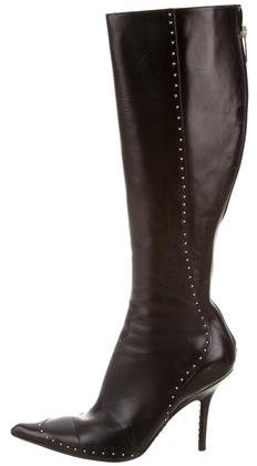 Christian Dior Embellished Leather Knee-High Boots