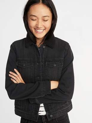 Old Navy Sherpa-Lined Black Denim Jacket for Women