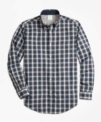 Brooks Brothers Milano Fit Heather Lined Tartan Sport Shirt