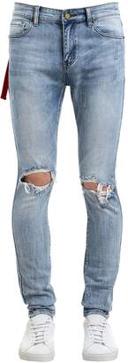 Skinny Medium Blue Destroyed Denim Jeans