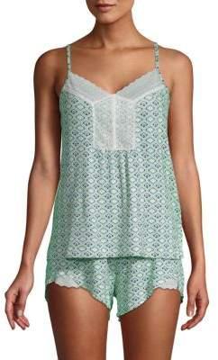 Catherine Malandrino Two-Piece Lace Trim Pajama Set