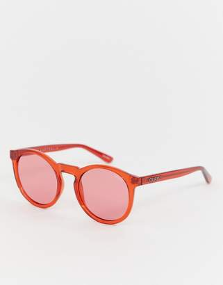 Quay red tinted round sunglasses