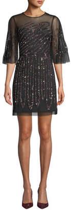 Aidan Mattox Graphic-Beaded Sheer Mini Dress