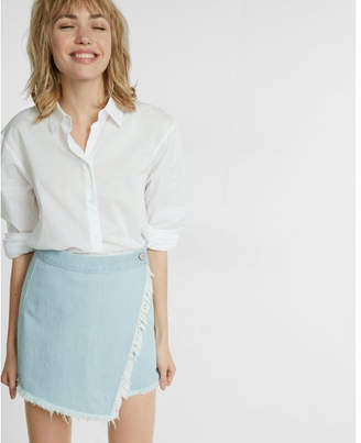 Express Frayed Wrap Front Mini Skirt $49.90 thestylecure.com