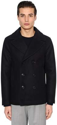 Emporio Armani Wool Cloth Peacoat W/ Quilted Lining
