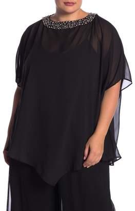 Marina Pearl Trim Cape Top (Plus Size)