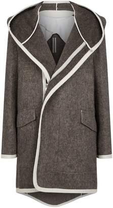 Rick Owens Suede Panel Wool Hooded Jacket