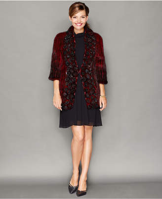 The Fur Vault Rosette Knitted Mink Fur Jacket