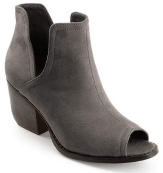 Brinley Co. Womens Faux Suede Side-slit Peep-toe Ankle Booties