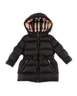 Burberry Consillia Belted Puffer Jacket, Black, Size 12M-3Y $375 thestylecure.com