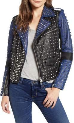 Hudson Jeans Colorblock Studded Lambskin Leather Biker Jacket
