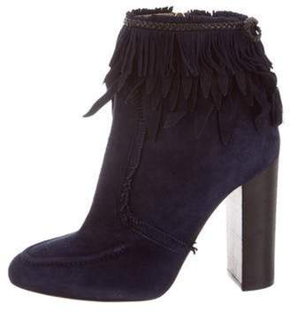 Aquazzura Suede Ankle Boots Navy Suede Ankle Boots