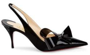 Christian Louboutin Women's Clare Nodo 80 Patent Leather Slingback Pumps - Black - Size 40.5 (10.5)